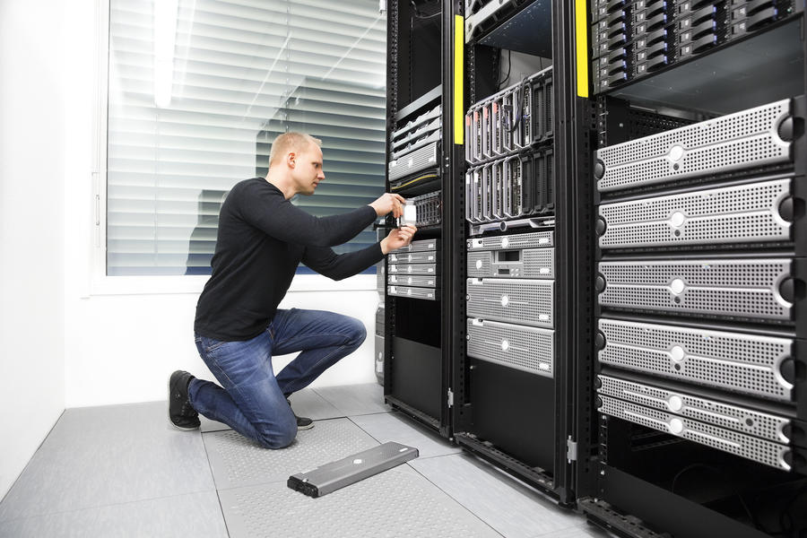 Network Support Pic - Adam in Server Room